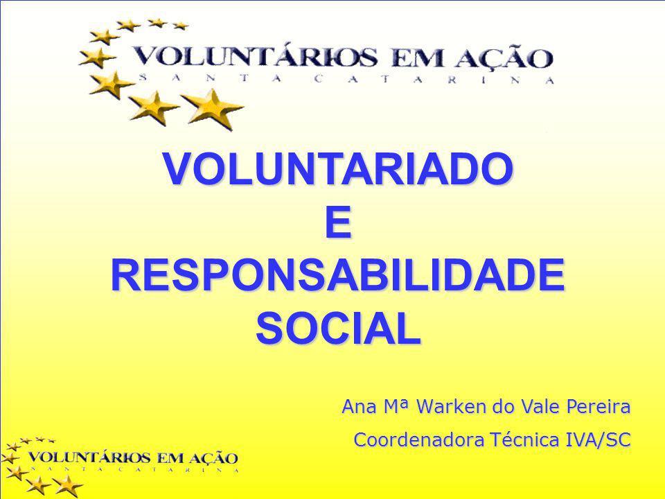 VOLUNTARIADOERESPONSABILIDADESOCIAL Ana Mª Warken do Vale Pereira Coordenadora Técnica IVA/SC