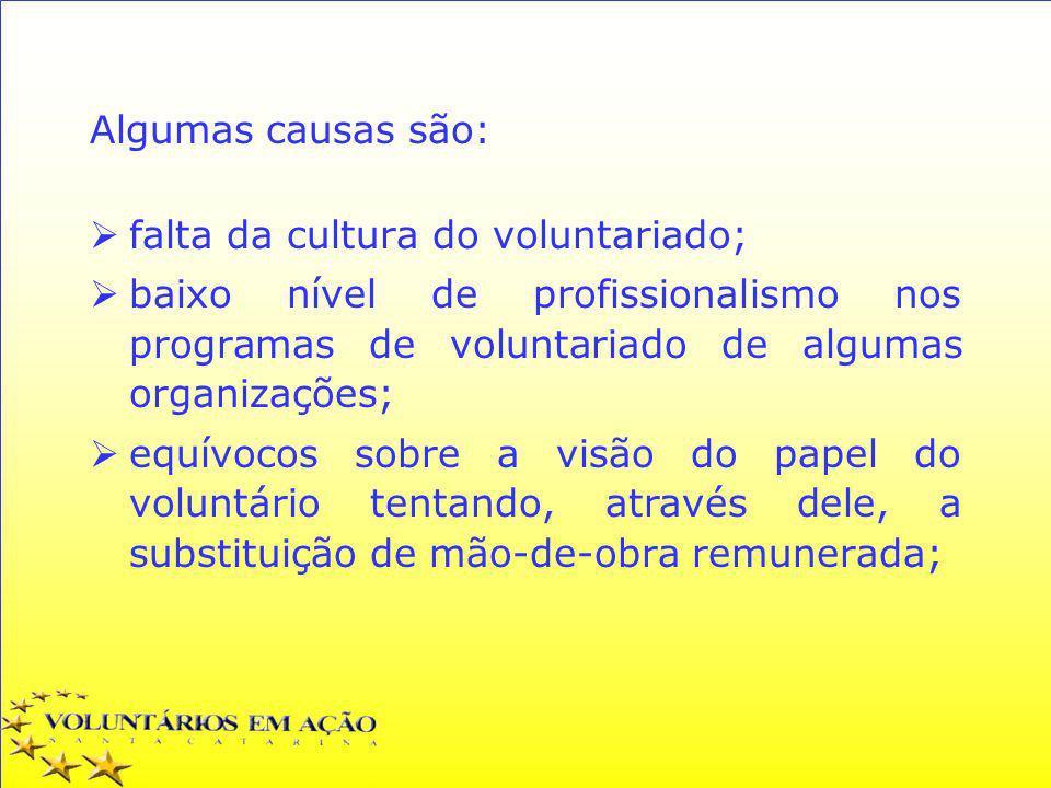 Algumas causas são: falta da cultura do voluntariado; baixo nível de profissionalismo nos programas de voluntariado de algumas organizações; equívocos