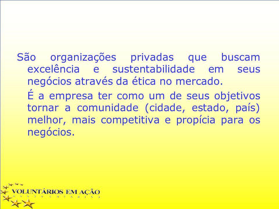 São organizações privadas que buscam excelência e sustentabilidade em seus negócios através da ética no mercado. É a empresa ter como um de seus objet