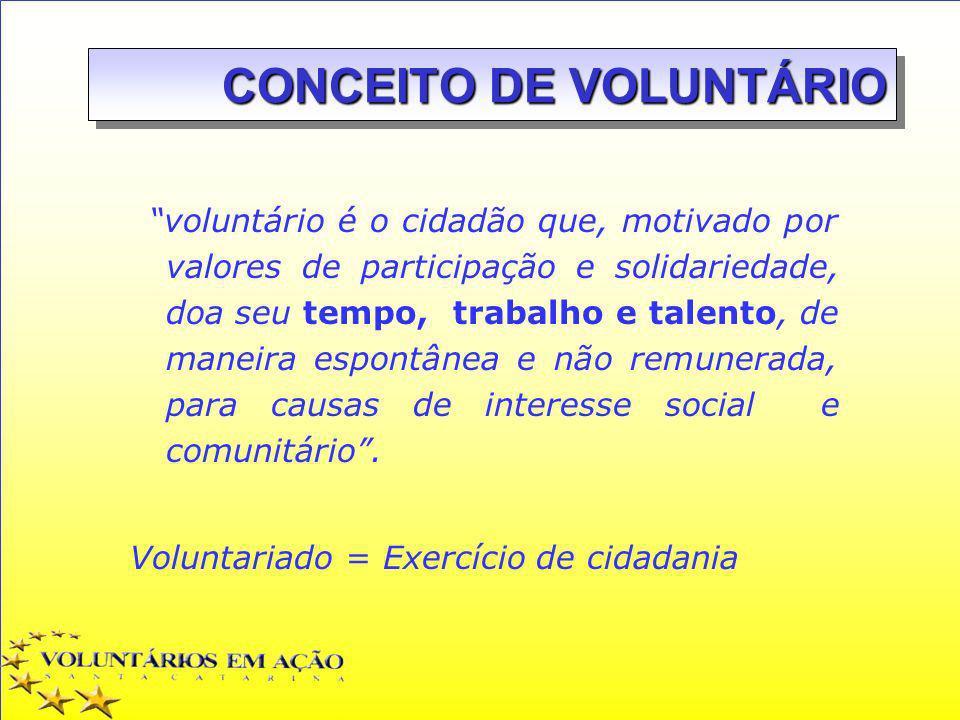 voluntário é o cidadão que, motivado por valores de participação e solidariedade, doa seu tempo, trabalho e talento, de maneira espontânea e não remun