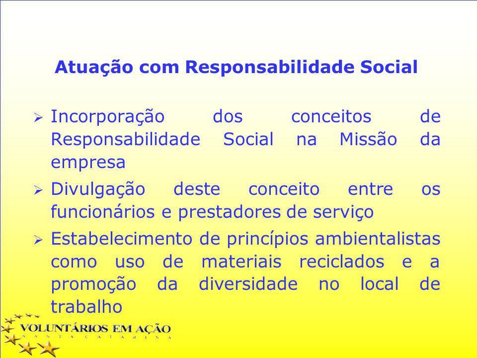 Atuação com Responsabilidade Social Incorporação dos conceitos de Responsabilidade Social na Missão da empresa Divulgação deste conceito entre os func