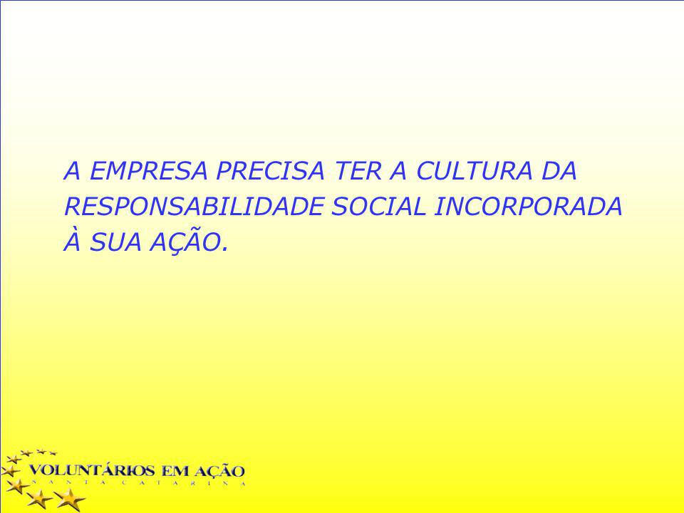 A EMPRESA PRECISA TER A CULTURA DA RESPONSABILIDADE SOCIAL INCORPORADA À SUA AÇÃO.