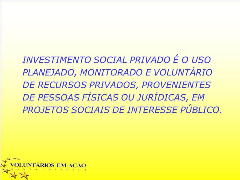 INVESTIMENTO SOCIAL PRIVADO É O USO PLANEJADO, MONITORADO E VOLUNTÁRIO DE RECURSOS PRIVADOS, PROVENIENTES DE PESSOAS FÍSICAS OU JURÍDICAS, EM PROJETOS