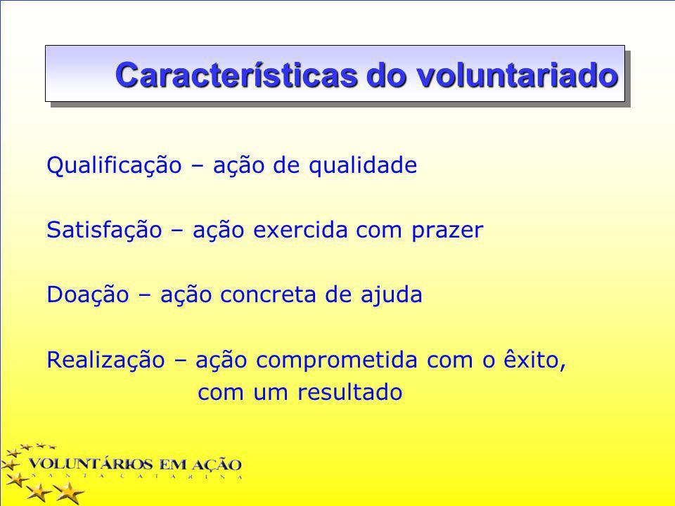 Características do voluntariado Qualificação – ação de qualidade Satisfação – ação exercida com prazer Doação – ação concreta de ajuda Realização – aç