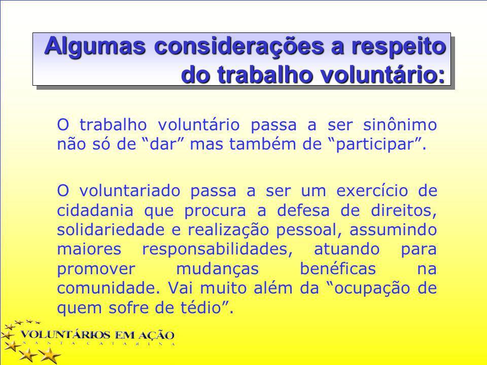Algumas considerações a respeito do trabalho voluntário: O trabalho voluntário passa a ser sinônimo não só de dar mas também de participar. O voluntar