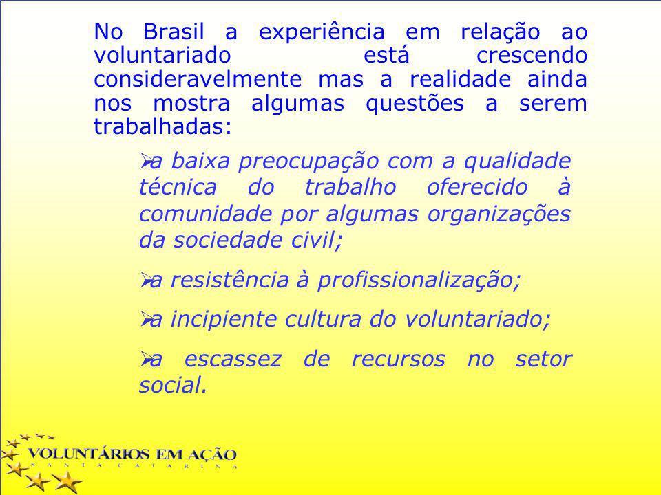 No Brasil a experiência em relação ao voluntariado está crescendo consideravelmente mas a realidade ainda nos mostra algumas questões a serem trabalha