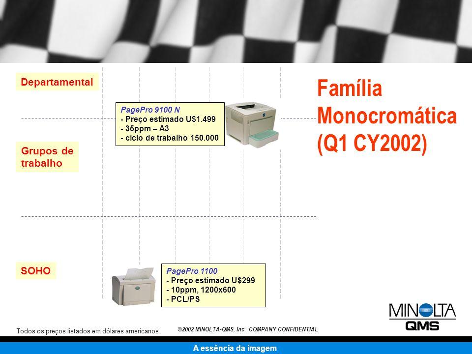 A essência da imagem ©2002 MINOLTA-QMS, Inc. COMPANY CONFIDENTIAL Família Monocromática (Q1 CY2002) Departamental Grupos de trabalho SOHO Todos os pre