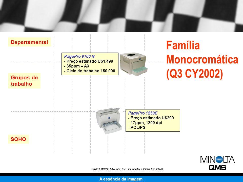 A essência da imagem ©2002 MINOLTA-QMS, Inc. COMPANY CONFIDENTIAL Departamental Grupos de trabalho SOHO PagePro 1250E - Preço estimado U$299 - 17ppm,