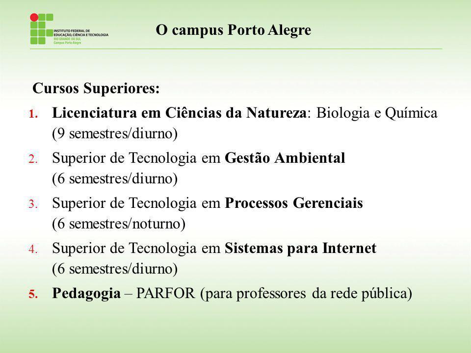 Cursos Superiores: 1. Licenciatura em Ciências da Natureza: Biologia e Química (9 semestres/diurno) 2. Superior de Tecnologia em Gestão Ambiental (6 s