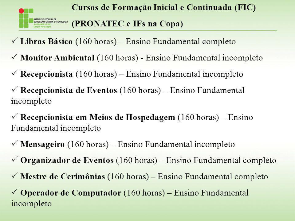 Libras Básico (160 horas) – Ensino Fundamental completo Monitor Ambiental (160 horas) - Ensino Fundamental incompleto Recepcionista (160 horas) – Ensi
