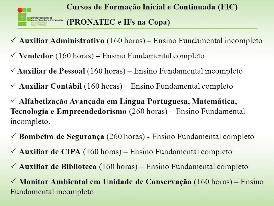 Cursos de Formação Inicial e Continuada (FIC) (PRONATEC e IFs na Copa) Auxiliar Administrativo (160 horas) – Ensino Fundamental incompleto Vendedor (1