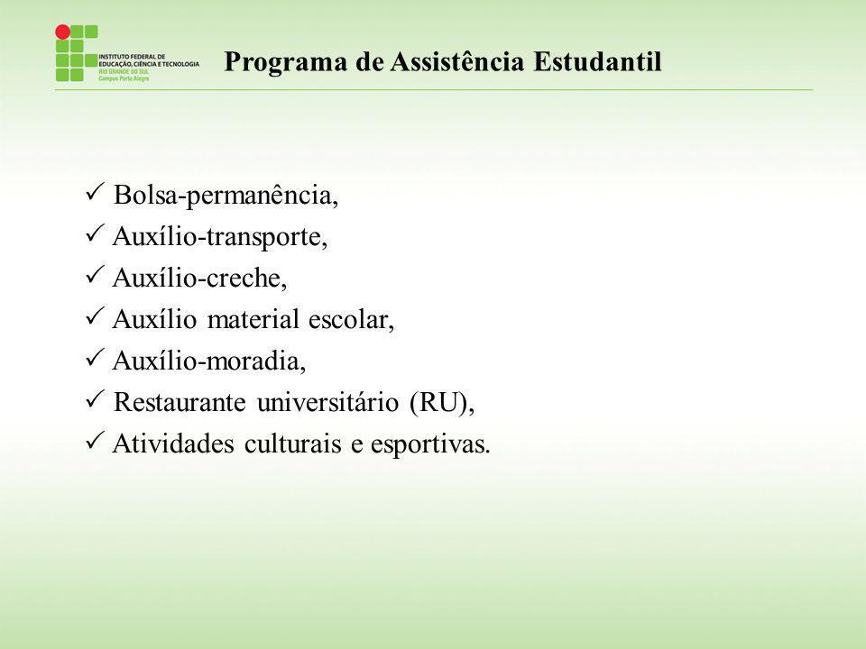 Programa de Assistência Estudantil Bolsa-permanência, Auxílio-transporte, Auxílio-creche, Auxílio material escolar, Auxílio-moradia, Restaurante unive