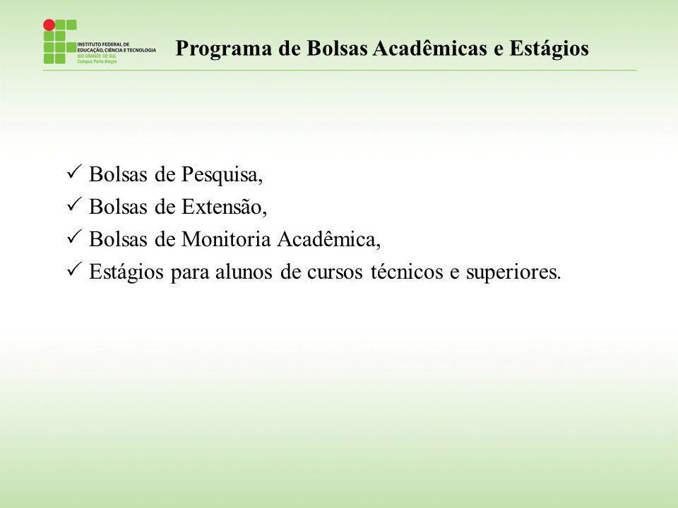 Programa de Bolsas Acadêmicas e Estágios Bolsas de Pesquisa, Bolsas de Extensão, Bolsas de Monitoria Acadêmica, Estágios para alunos de cursos técnico