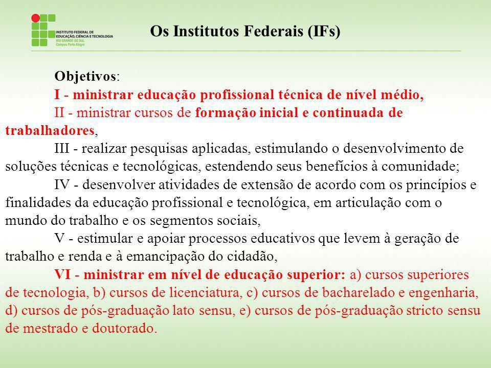 Os Institutos Federais (IFs) Objetivos: I - ministrar educação profissional técnica de nível médio, II - ministrar cursos de formação inicial e contin