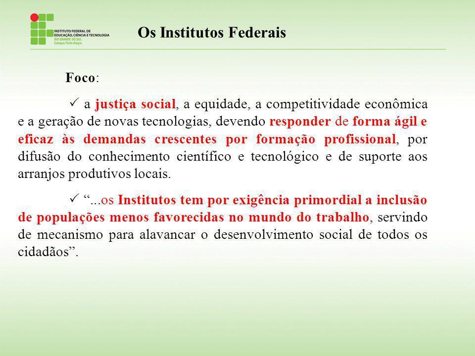 Os Institutos Federais Foco: a justiça social, a equidade, a competitividade econômica e a geração de novas tecnologias, devendo responder de forma ág