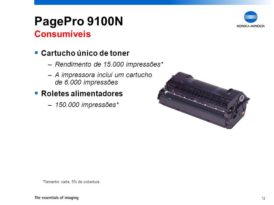 12 PagePro 9100N Consumíveis Cartucho único de toner –Rendimento de 15.000 impressões* –A impressora inclui um cartucho de 6.000 impressões Roletes al