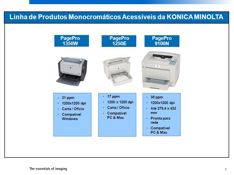 3 Linha de Produtos Monocromáticos Acessíveis da KONICA MINOLTA PagePro 1350W 21 ppm 1200x1200 dpi Carta / Ofício Compatível Windows 17 ppm 1200 x 120