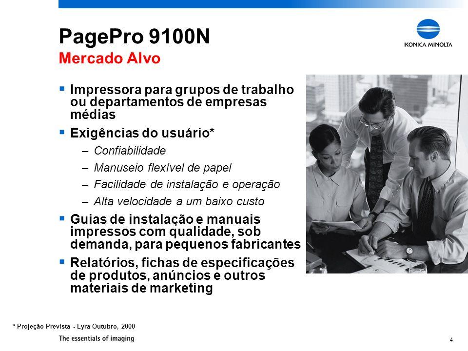 4 PagePro 9100N Mercado Alvo Impressora para grupos de trabalho ou departamentos de empresas médias Exigências do usuário* –Confiabilidade –Manuseio f