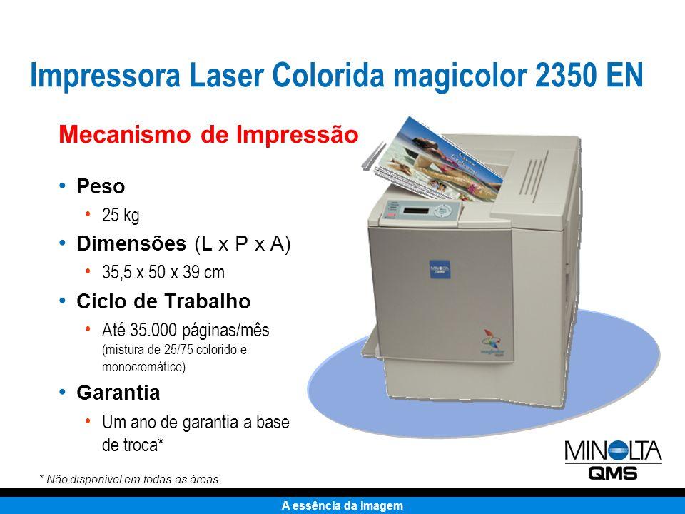 A essência da imagem Mecanismo de Impressão Mais compacto que a HP MQI magicolor 2350 EN HP Color LaserJet 2500 Impressora Laser Colorida magicolor 2350 EN