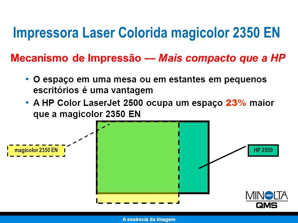 A essência da imagem Com papel, a HP 2500 ocupa um espaço considerável 68,1 cm HP 2500L magicolor 2350 EN A bandeja deve ser aberta para impressão (como exibido).
