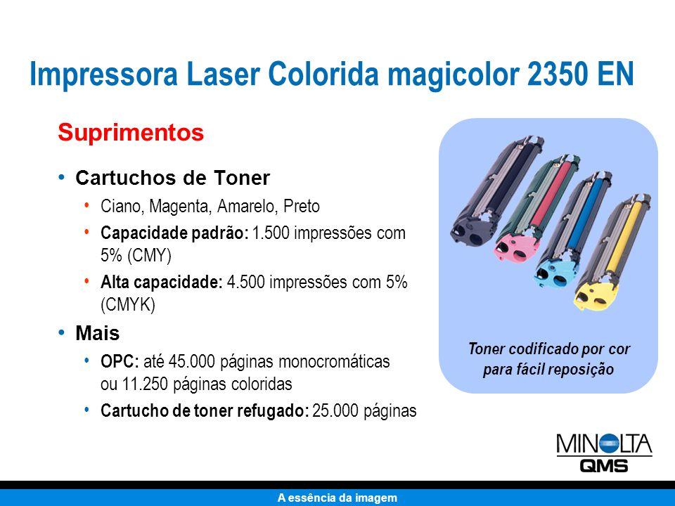 A essência da imagem Impressão de Baixo Custo: custo acessível para ser utilizada em todos os trabalhos de impressão Suprimentos Figuras baseadas em cobertura de 5% preto / 20% colorido em papel tamanho carta 11.1¢11.1¢ 2¢2¢ Impressora Laser Colorida magicolor 2350 EN