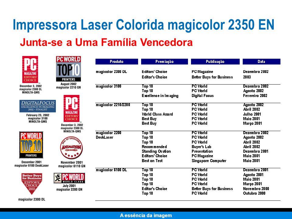 A essência da imagem Completando a Linha de Impressoras Coloridas magicolor 3100 DN magicolor 2300 DL magicolor 2350 EN 4 / 16 ppm 2400 x 600 dpi Pronta para rede Compatível Windows $799* 4 / 18 ppm 9600 x 600 dpi Pronta para rede Compatível PC & Mac $1,099* 16 / 16 ppm 1200 x 1200 dpi Pronta para rede Compatível PC & Mac $1,999* * Todos os preços aqui exibidos são preços finais estimados.
