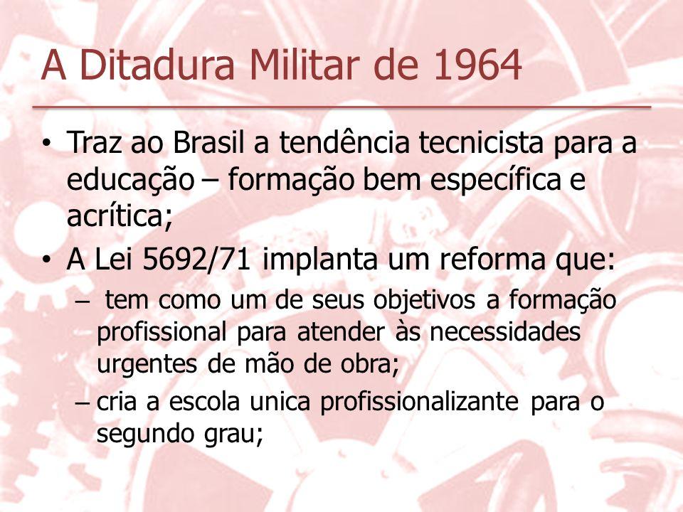 A Ditadura Militar de 1964 Traz ao Brasil a tendência tecnicista para a educação – formação bem específica e acrítica; A Lei 5692/71 implanta um refor