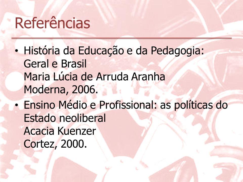 Referências História da Educação e da Pedagogia: Geral e Brasil Maria Lúcia de Arruda Aranha Moderna, 2006. Ensino Médio e Profissional: as políticas