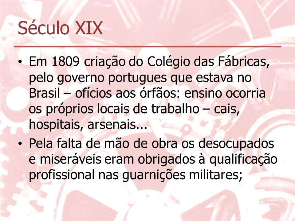 Século XIX Em 1809 criação do Colégio das Fábricas, pelo governo portugues que estava no Brasil – ofícios aos órfãos: ensino ocorria os próprios locai