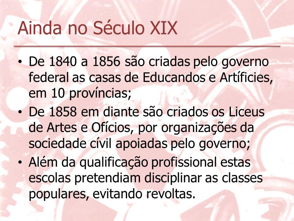 O início do Século XX Poucas iniciativas para a formação profissional, com a finalidade de: 1.