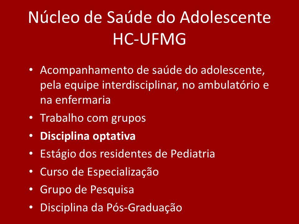 Núcleo de Saúde do Adolescente HC-UFMG Acompanhamento de saúde do adolescente, pela equipe interdisciplinar, no ambulatório e na enfermaria Trabalho c