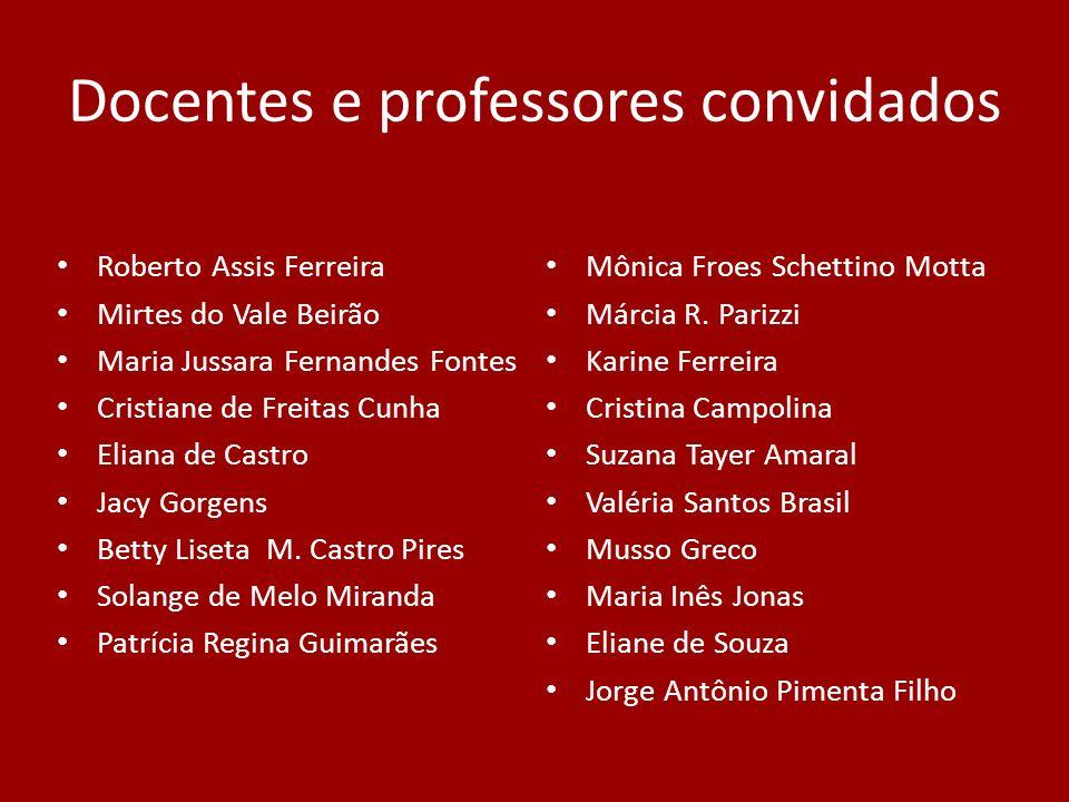 Docentes e professores convidados Roberto Assis Ferreira Mirtes do Vale Beirão Maria Jussara Fernandes Fontes Cristiane de Freitas Cunha Eliana de Cas