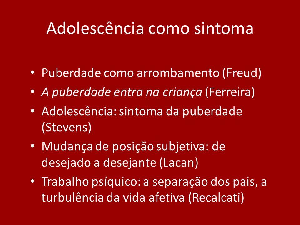 Adolescência: abertura para o possível (Focchi) O único tempo onde aprender é possível (Proust) Adolescência como sintoma