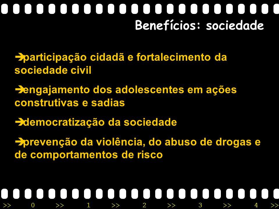 >>0 >>1 >> 2 >> 3 >> 4 >> Benefícios: sociedade participação cidadã e fortalecimento da sociedade civil engajamento dos adolescentes em ações construt