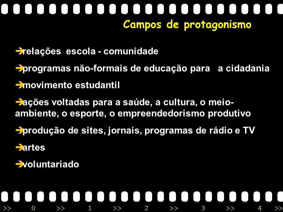 >>0 >>1 >> 2 >> 3 >> 4 >> Campos de protagonismo relações escola - comunidade programas não-formais de educação para a cidadania movimento estudantil