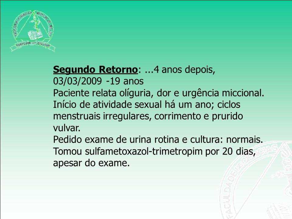 Segundo Retorno:...4 anos depois, 03/03/2009 -19 anos Paciente relata olíguria, dor e urgência miccional. Início de atividade sexual há um ano; ciclos