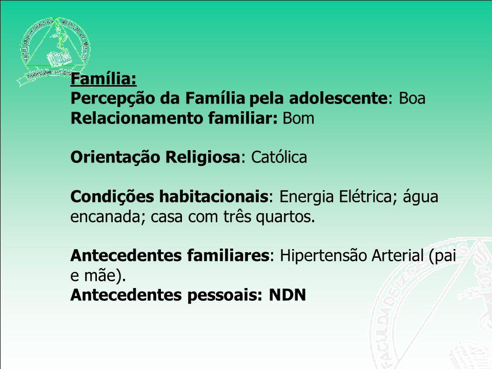 Educação: 2º grau Projeto de Vida: Aeromoça Trabalho: Ajuda a mãe nos serviços domésticos.