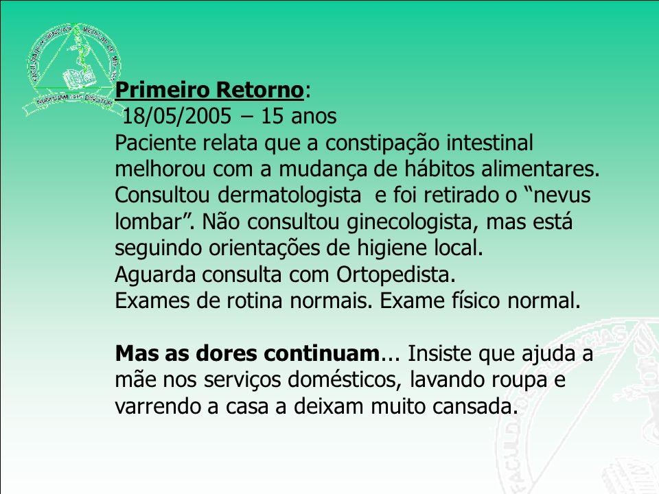 Primeiro Retorno: 18/05/2005 – 15 anos Paciente relata que a constipação intestinal melhorou com a mudança de hábitos alimentares. Consultou dermatolo