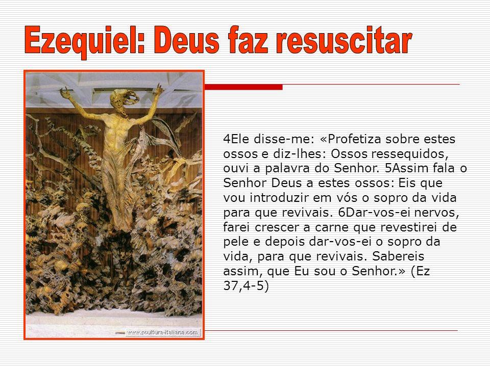 4Ele disse-me: «Profetiza sobre estes ossos e diz-lhes: Ossos ressequidos, ouvi a palavra do Senhor. 5Assim fala o Senhor Deus a estes ossos: Eis que