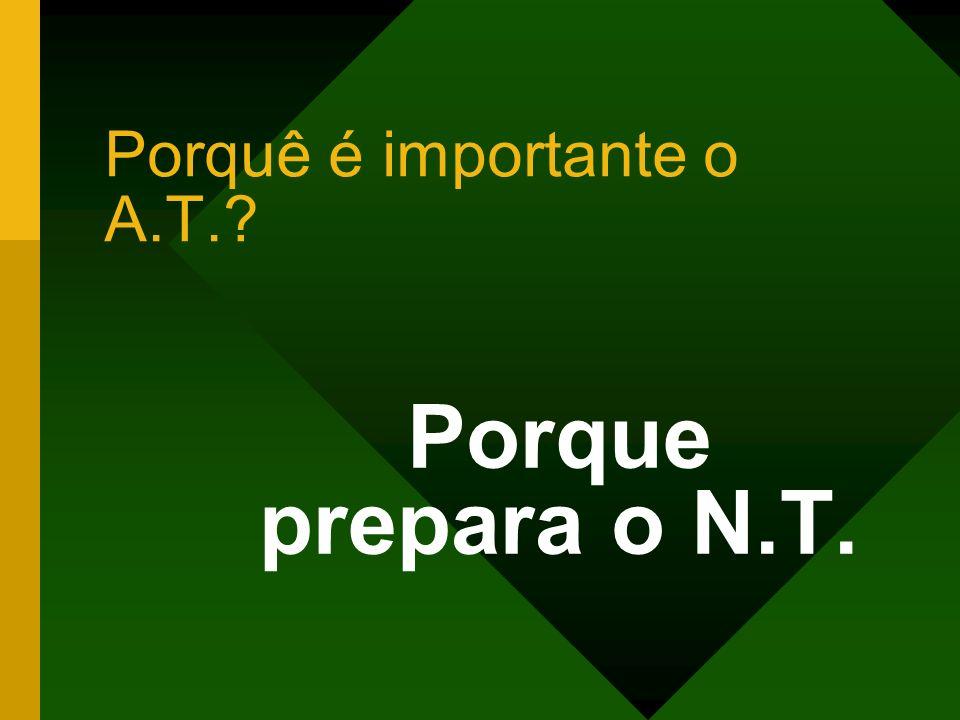 Porquê é importante o A.T.? Porque prepara o N.T.