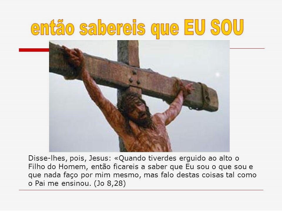 Disse-lhes, pois, Jesus: «Quando tiverdes erguido ao alto o Filho do Homem, então ficareis a saber que Eu sou o que sou e que nada faço por mim mesmo,