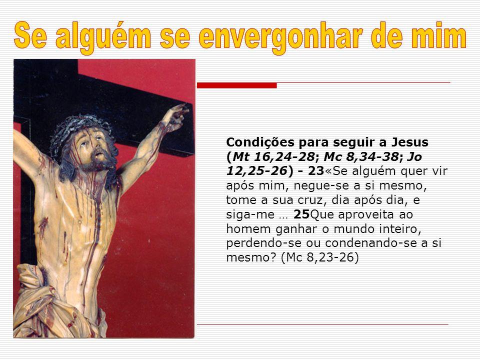 Condições para seguir a Jesus (Mt 16,24-28; Mc 8,34-38; Jo 12,25-26) - 23«Se alguém quer vir após mim, negue-se a si mesmo, tome a sua cruz, dia após