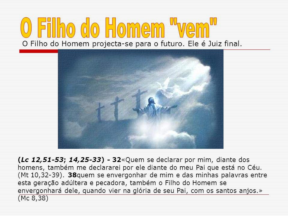 O Filho do Homem projecta-se para o futuro. Ele é Juiz final. (Lc 12,51-53; 14,25-33) - 32«Quem se declarar por mim, diante dos homens, também me decl