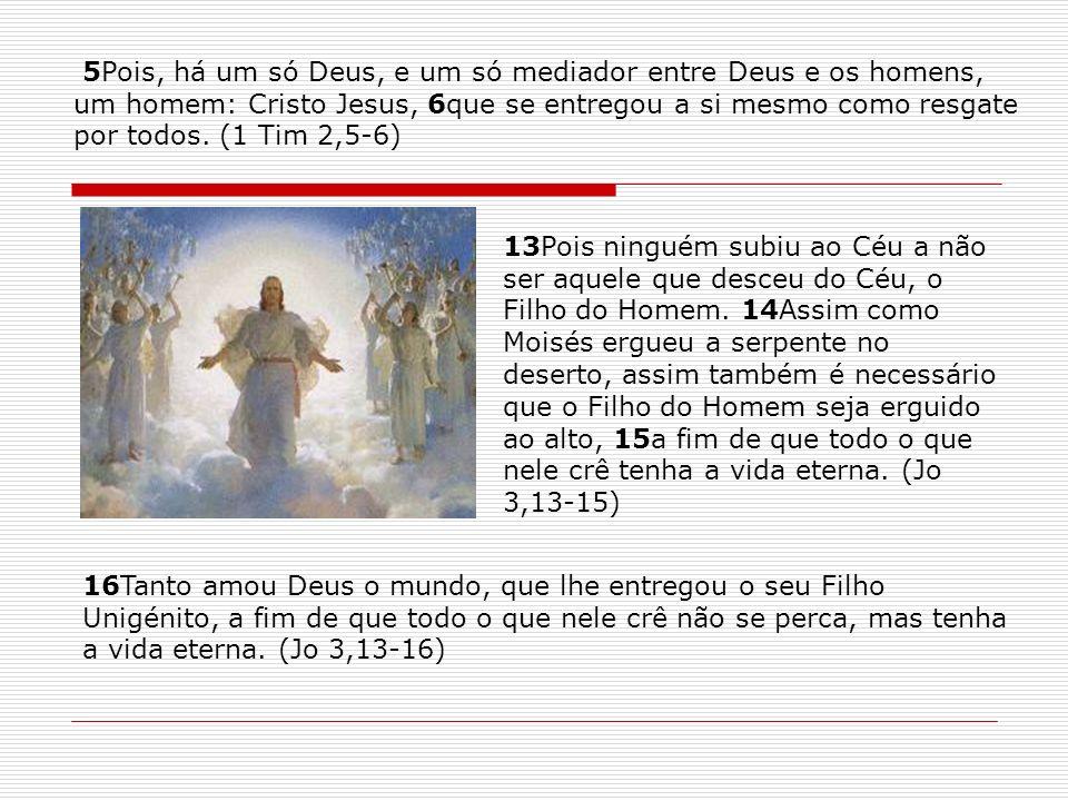 13Pois ninguém subiu ao Céu a não ser aquele que desceu do Céu, o Filho do Homem. 14Assim como Moisés ergueu a serpente no deserto, assim também é nec