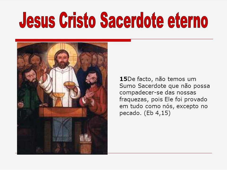 15De facto, não temos um Sumo Sacerdote que não possa compadecer-se das nossas fraquezas, pois Ele foi provado em tudo como nós, excepto no pecado. (E