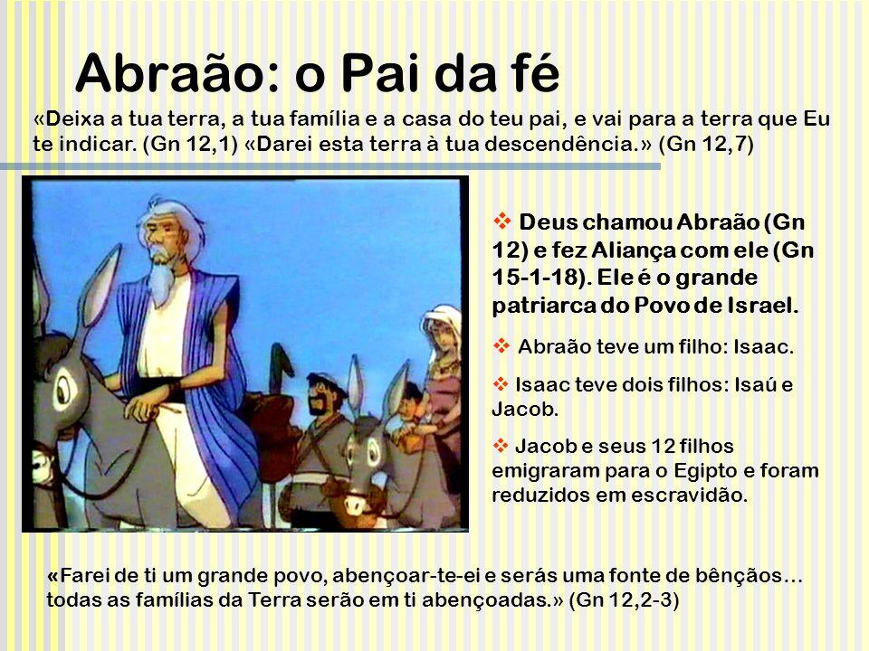 Deus prometeu a Abraão Uma descendência numerosa (Gn 12,2; 15,5); e dom de uma terra (Gn 12,7; 15,13-16 Promessa que continuará durante a vida de Abraão (Gn 23), durante a vida vadia de Jacob (Gn 28,13; Gn 32 e 49,29-30) e de José (Gn 50,24-25)