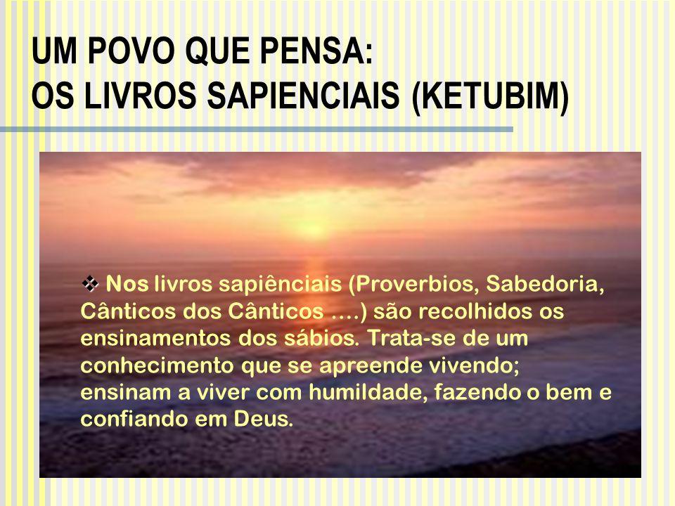 Nos livros sapiênciais (Proverbios, Sabedoria, Cânticos dos Cânticos ….) são recolhidos os ensinamentos dos sábios. Trata-se de um conhecimento que se