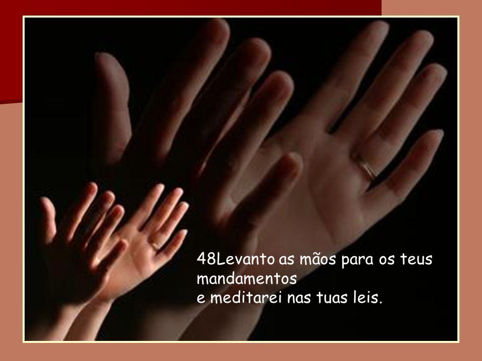 48Levanto as mãos para os teus mandamentos e meditarei nas tuas leis.