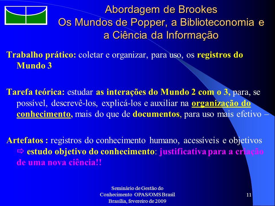Seminário de Gestão do Conhecimento OPAS/OMS Brasil Brasília, fevereiro de 2009 11 Abordagem de Brookes Os Mundos de Popper, a Biblioteconomia e a Ciê