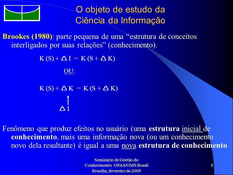 Seminário de Gestão do Conhecimento OPAS/OMS Brasil Brasília, fevereiro de 2009 5 O objeto de estudo da Ciência da Informação Brookes (1980): parte pe